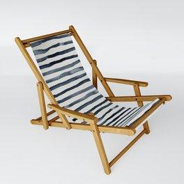 Simply Shibori Stripes Indigo Blue on Lunar Gray Sling Chair