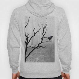 Black Crow in Foggy Forest A118 Hoody