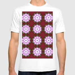 Purple White Flower on Burgundy Pattern T-shirt