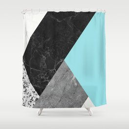 Black and White Marbles and Pantone Island Paradise Color Shower Curtain