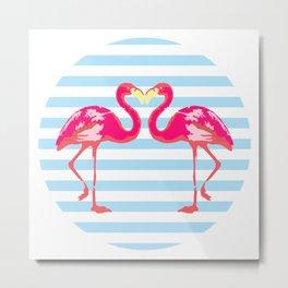 Flamingo, Flamingo t-shirt, watercolor poster, pink in blue stripes, circle Metal Print