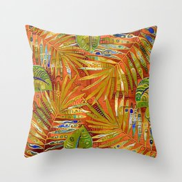 Tropical Leaves Abstract Throw Pillow