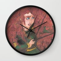 merida Wall Clocks featuring Merida by carotoki art and love
