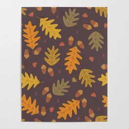 Oak Leaves dark Poster