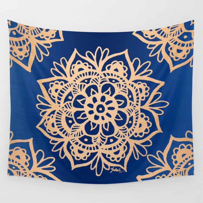 Blue and Gold Mandala Wall Tapestry