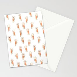 Cute hand painted white orange ivory watercolor owls Stationery Cards