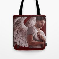 dean winchester Tote Bags featuring Michael. Dean Winchester by Armellin