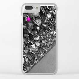 Paris pink love lock black and white with color Clear iPhone Case