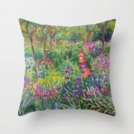 Claude Monet - The Iris Garden At Giverny Throw Pillow