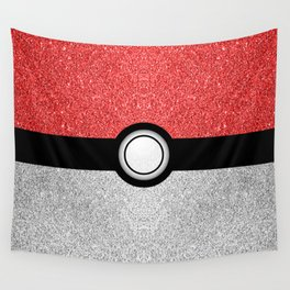 Sparkly red and silver sparkles poke ball Wall Tapestry