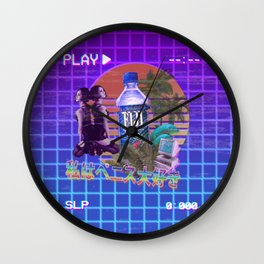 Vaporwave Fiji Bottle Wall Clock