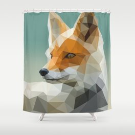 Polygon Fox Shower Curtain