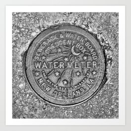 New Orleans Water Meter Cover Crescent City Louisiana Art Print