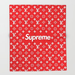 supreme x LV red Throw Blanket