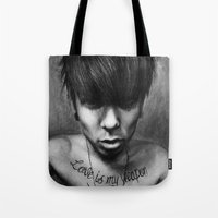 rock n roll Tote Bags featuring Rock N Roll by ''Befne''