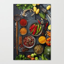 Fresh delicious ingredients for healthy cooking  on rustic background Canvas Print