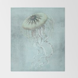 Jellyfish Underwater Aqua Turquoise Art Throw Blanket