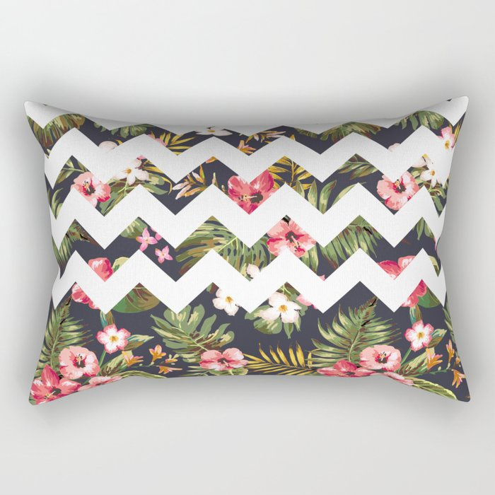 Floral Chevron Rectangular Pillow