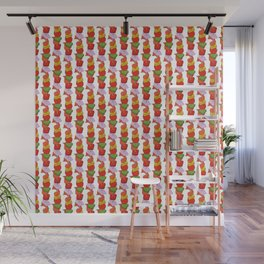 Grilled Veggies - BBQ Doodle Pattern in White Wall Mural