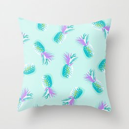 Tropical Pineapple Party Pattern - Aqua & Violet #Summervibes Throw Pillow