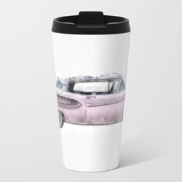 Pink Ford Edsel  Watercolor Travel Mug