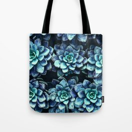 Blue And Green Succulent Plants Tote Bag