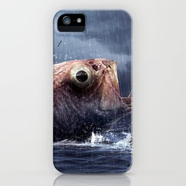 Marvelous Illusion Giant Sea Creature Preying On Young Lady Woman UHD iPhone Case