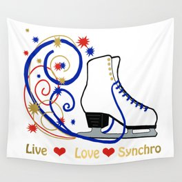 Live,Love,Synchro- Synchronized Figure Skating Design Wall Tapestry