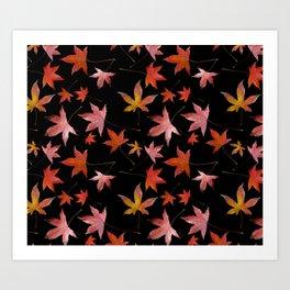 Dead Leaves over Black Art Print