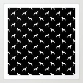 Boxer dog breed pattern dog gifts black and white minimal dog silhouette Art Print