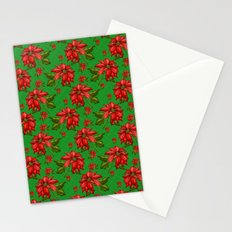 Red Poinsettia Plaid Stationery Cards