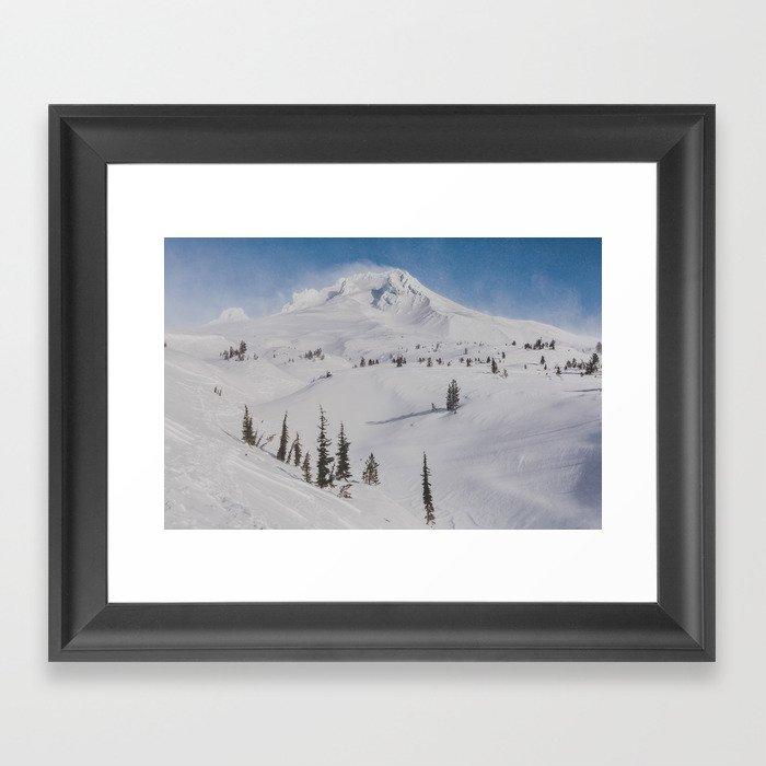 Snowy Mount Hood Framed Art Print