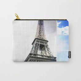 Eiffel Tower Paris in Black and White with Blue Stripe Carry-All Pouch