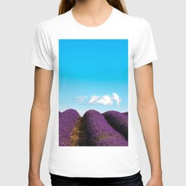 White cloud on blue sky over lavender fields T-shirt