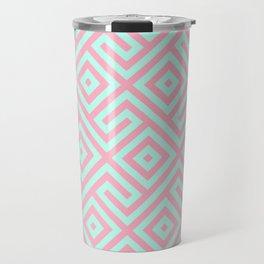 Geometrical pink teal abstract argyle diamond pattern Travel Mug