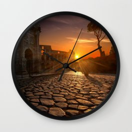 Italy Photography - Sunset Over Ancient Buildings In Rome Wall Clock