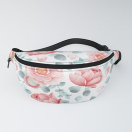 Rose Blush Watercolor Flower And Eucalyptus Leaves Fanny Pack