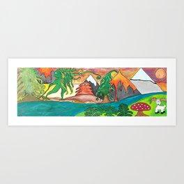 Moss Woman Enters the Volcano Woods Art Print
