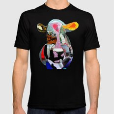 the mod cow  Mens Fitted Tee Black MEDIUM