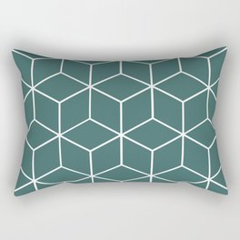 Cube Geometric 03 Teal Rectangular Pillow