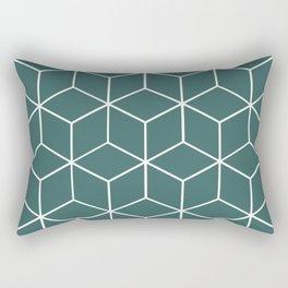 Cube Geometric 03 Teal Rectangular Pillow