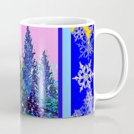 YELLOW-BLUE WINTER SNOWFLAKES  FOREST TREE  ART Coffee Mug