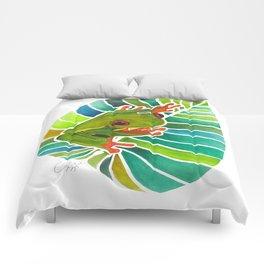 Frog On A Leaf Comforters