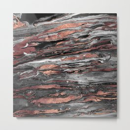 Modern rose gold abstract marbleized paint Metal Print