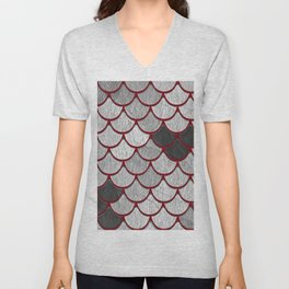Drain Scales with Red Outlines Unisex V-Neck