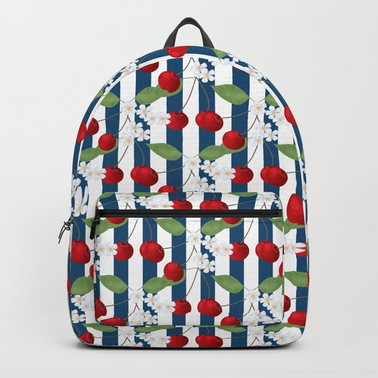 Seamless pattern with cherry and flowers on striped background Backpack