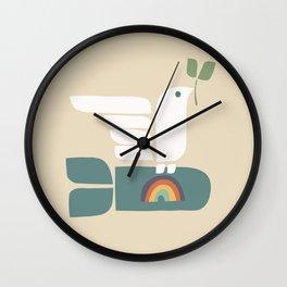 Peace dove and rainbow bomb Wall Clock