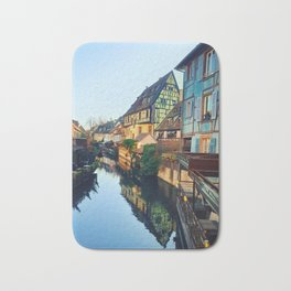 Colorful romantic city Colmar, France, Alsace. Traditional house Bath Mat