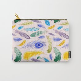 Jewel Tone Feathers Carry-All Pouch