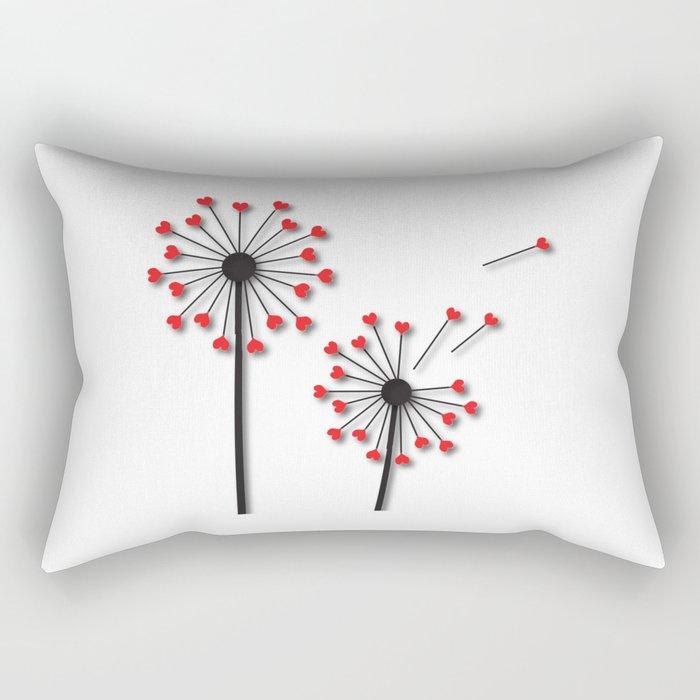 Dandelion Hearts Rectangular Pillow
